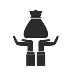 hands holding bag money pictogram image vector image