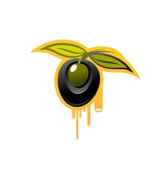 Shiny black olive dripping olive oil vector