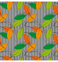 Seamless background with colored leaves vector