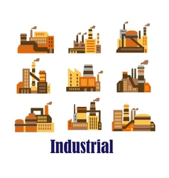 Flat industrial icons of plants and factories vector image