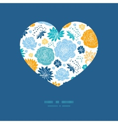 Blue and yellow flowersilhouettes heart silhouette vector