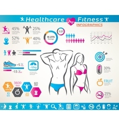 Fitness and wellness infographcs active people vector