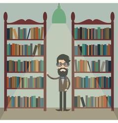 Man in library vector