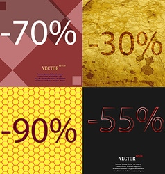 30 90 55 icon set of percent discount on abstract vector