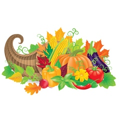 Cornucopia with harvest vector image
