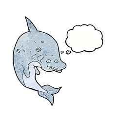 Cartoon shark with thought bubble vector