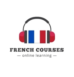 French courses logo concept with flag and vector