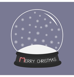 Empty crystal ball with snowflakes template merry vector