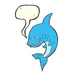 Funny cartoon shark with speech bubble vector