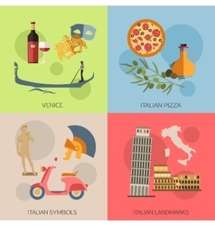 Set of italy travel compositions with place for vector