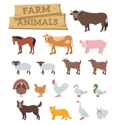 Domestic farm animals flat icons vector
