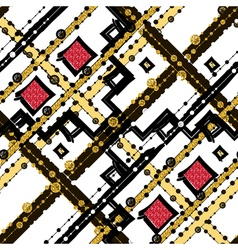 Seamless patterns with white black gold zigzag vector