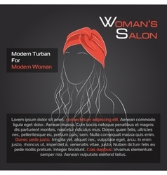 Woman with hair in red turban vector
