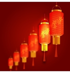 A number of red chinese lanterns cylindrical shape vector