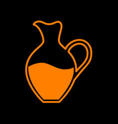 Amphora sign orange icon on black background old vector