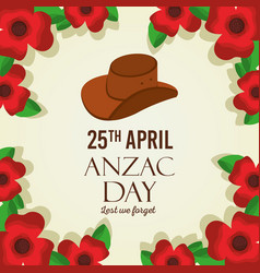 Anzac day lest we forget card remembrance memorial vector