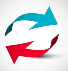 Arrows 3d set bent red and blue arrow logo design vector