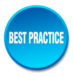 Best practice blue round flat isolated push button vector