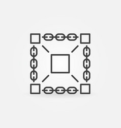 Blockchain technology minimal icon vector