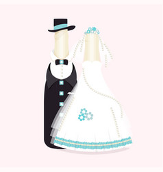 Bottles of wine champagne in suits of newlyweds vector