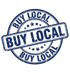 Buy local blue grunge round vintage rubber stamp vector