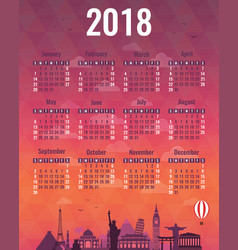 Calendar for 2018 with famous wolrd landmarks vector