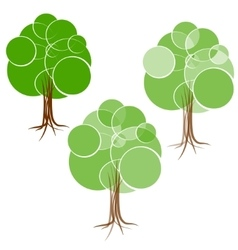 Cartoon green summer tree with a crown of circles vector image