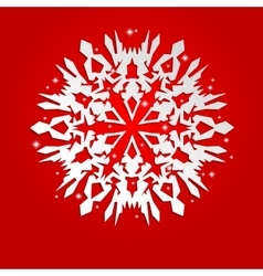 Christmas background with white paper snowflake vector