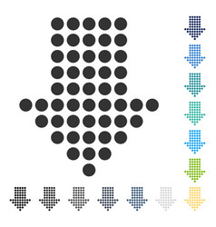 Dotted arrow down icon vector