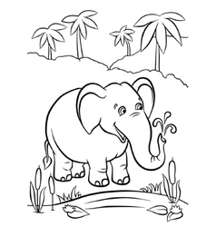 Elephant playing with water vector