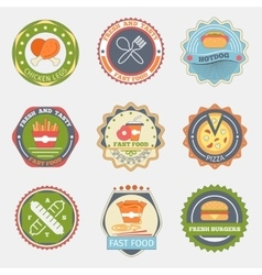 Fast food flat badges vector image
