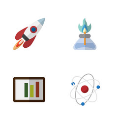 Flat science set of diagram spaceship orbit and vector
