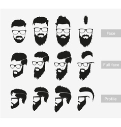hairstyles with a beard in the face full face and vector image vector image