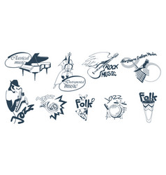 hand drawn music logotypes set vector image