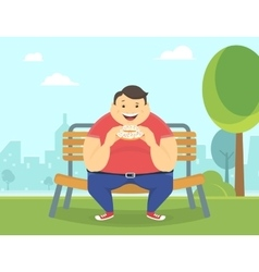 Happy fat man eating a big donut in the park vector