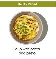 Italian cuisine soup of pasta and pesto vector