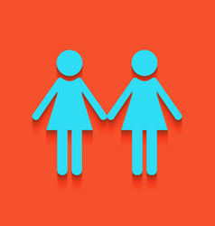 Lesbian family sign whitish icon on brick vector