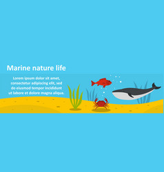 marine nature life banner horizontal concept vector image vector image