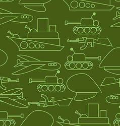Military seamless pattern Ship and tank Auto and vector image vector image