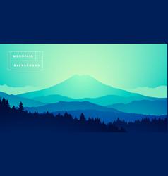 mountain peak misty pine forest gradient vector image vector image