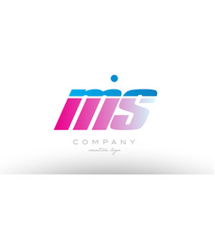 ms m s alphabet letter combination pink blue bold vector image