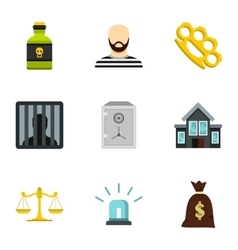 Offense icons set flat style vector