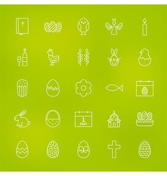 Orthodox easter line icons set over blurred vector
