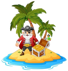 Pirate in the treasure island vector image