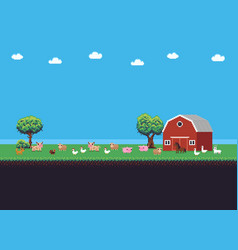 Pixel art farm vector