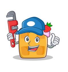 Plumber waffle character cartoon design vector