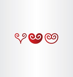 red spiral heart icon set vector image