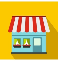 Shop building icon flat style vector image vector image