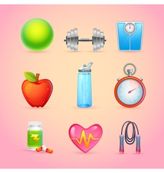 Sport and fitness items realistic icons vector