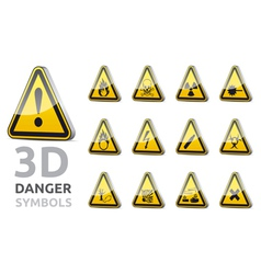 Triangel danger sign 3d vector